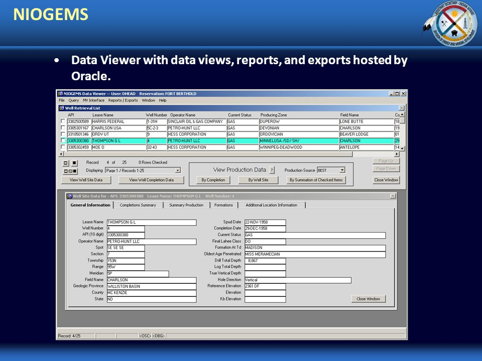 NIOGEMS Data Viewer with data views, reports, and exports hosted by Oracle.