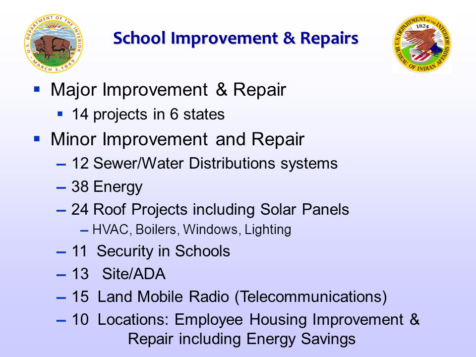  Major Improvement & Repair  14 projects in 6 states  Minor Improvement and Repair ▬ 12 Sewer/Water Distributions systems ▬ 38 Energy ▬ 24 Roof Pro