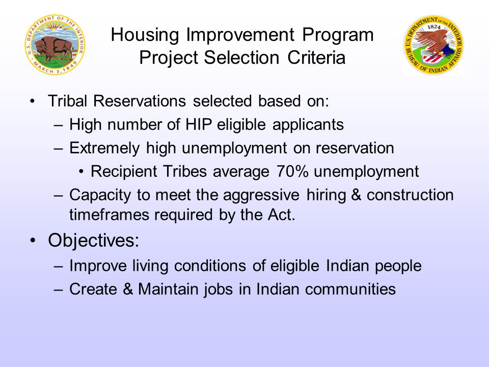 Projects 15 tribes located in 10 States 188 new homes Homes will: –Meet State Standard Conditions for geographic locations –Meet or exceed State specific weatherization codes –Be furnished with Energy Star appliances 15% more energy efficient than homes built in 2004 Renewable energy projects –5 homes built with compressed earth block bricks –3 reservations – 30 homes: Geothermal ground loop technology