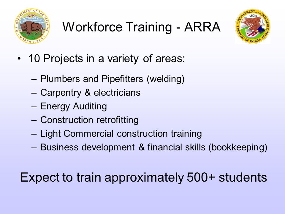 Construction Workforce OJT in Maintenance: $13.3M Goals: Immediately Hire the Unemployed Provide Maintenance for Tribal Support Facilities (agencies) Detention Centers Employee Housing ▬ Training while On-The-Job for Unemployed & Youth Hires ▬ Fund over next 18 months to provide sustained employment Projects: 22 Locations Expect ~450 individuals trained ▬ Evidence Storage Tribal Justice Support ▬ Courts Construction Workforce On-the-Job Training