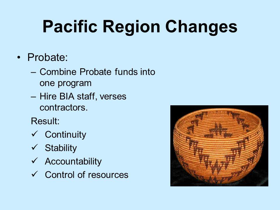 Pacific Region Changes Probate: –Combine Probate funds into one program –Hire BIA staff, verses contractors.