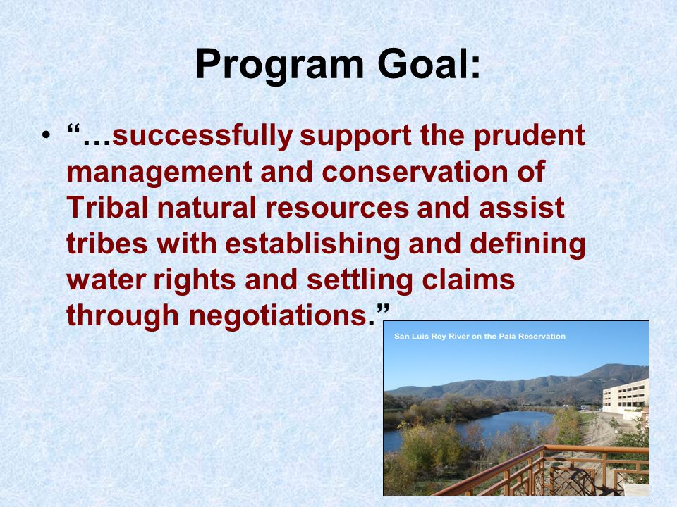 Primary concerns expressed by Tribes with respect to water resources issues have included: Surface water and ground water supplies;  federally reserved water rights  water quality  overdraft  water diversions  water transfers  ecosystem management  fisheries
