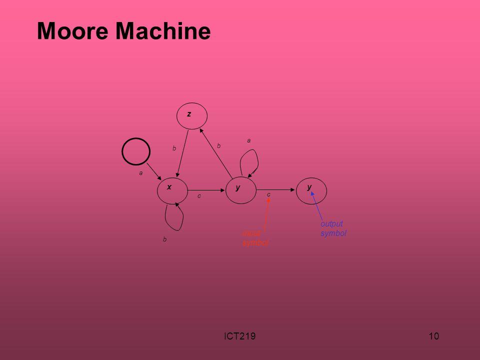 ICT21910 Moore Machine b b c a x b c a y y z input symbol output symbol