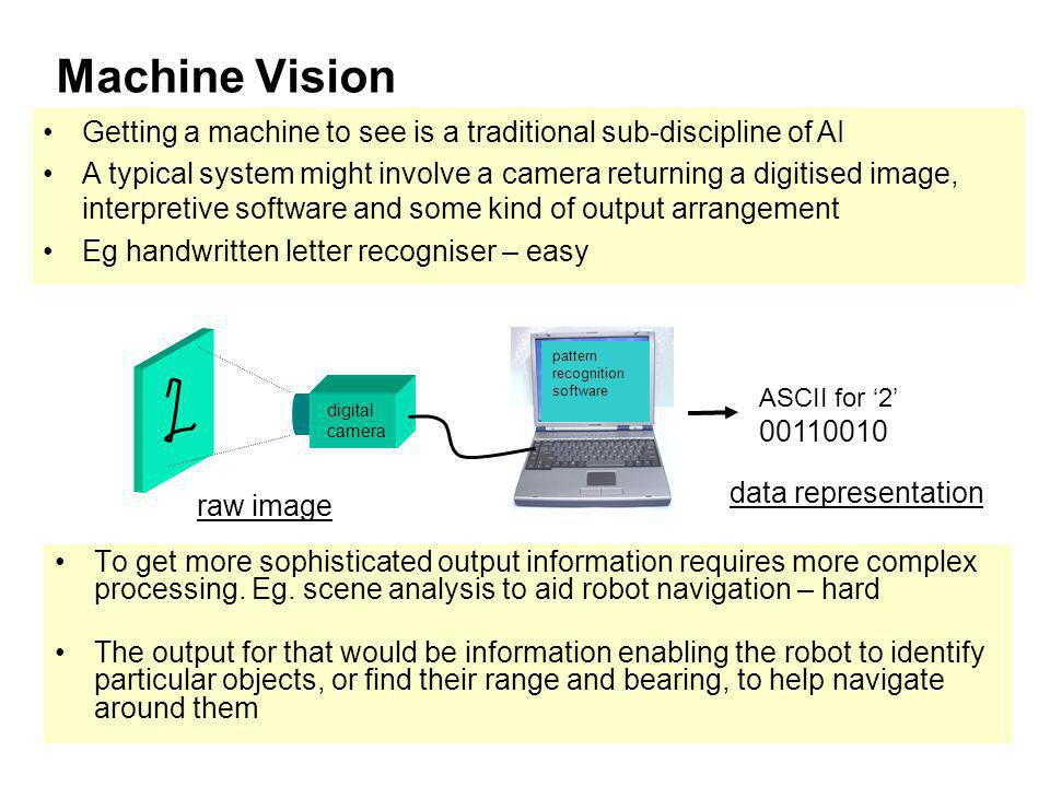 ICT2193 Machine Vision To get more sophisticated output information requires more complex processing. Eg. scene analysis to aid robot navigation – har