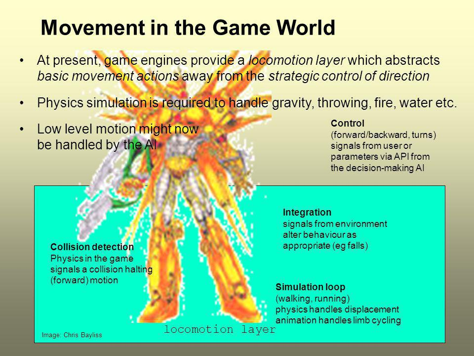 ICT2196 Movement in the Game World At present, game engines provide a locomotion layer which abstracts basic movement actions away from the strategic