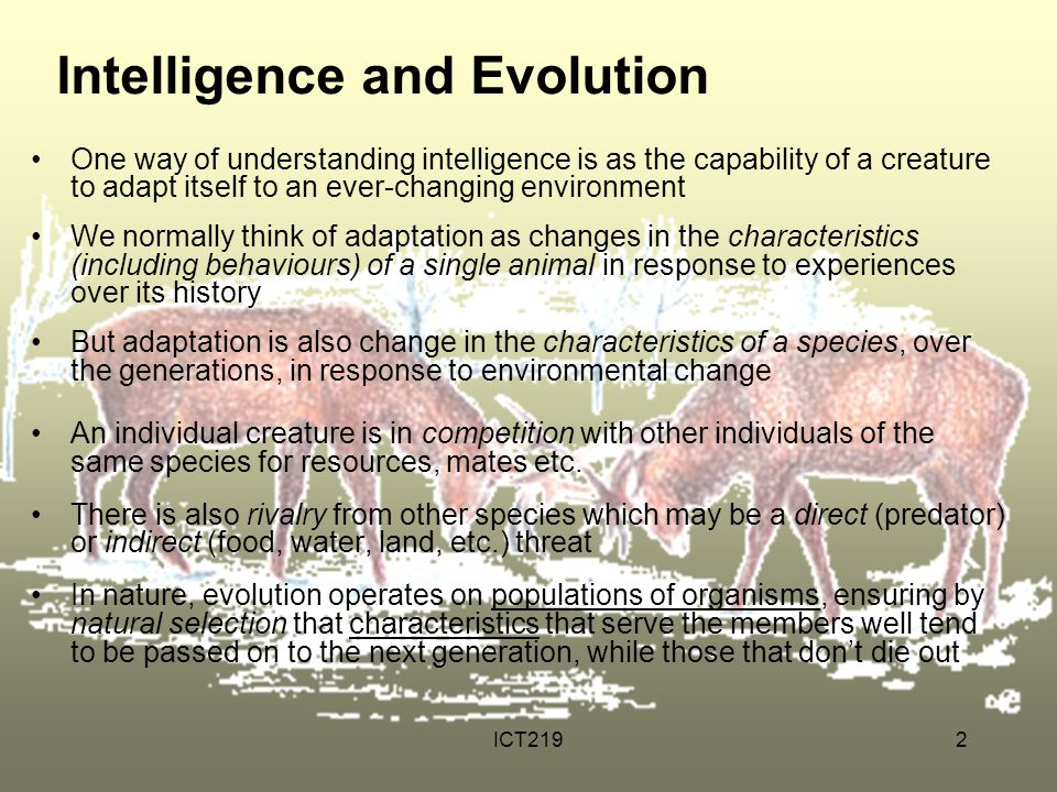 ICT2192 Intelligence and Evolution One way of understanding intelligence is as the capability of a creature to adapt itself to an ever-changing enviro