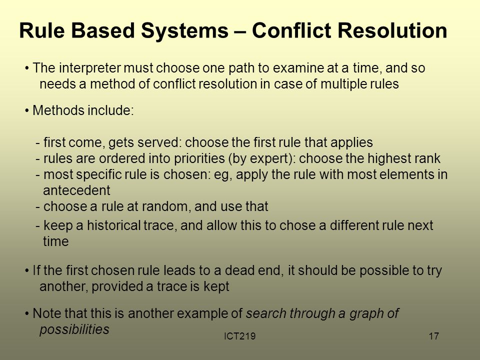 ICT21917 Rule Based Systems – Conflict Resolution The interpreter must choose one path to examine at a time, and so needs a method of conflict resolut