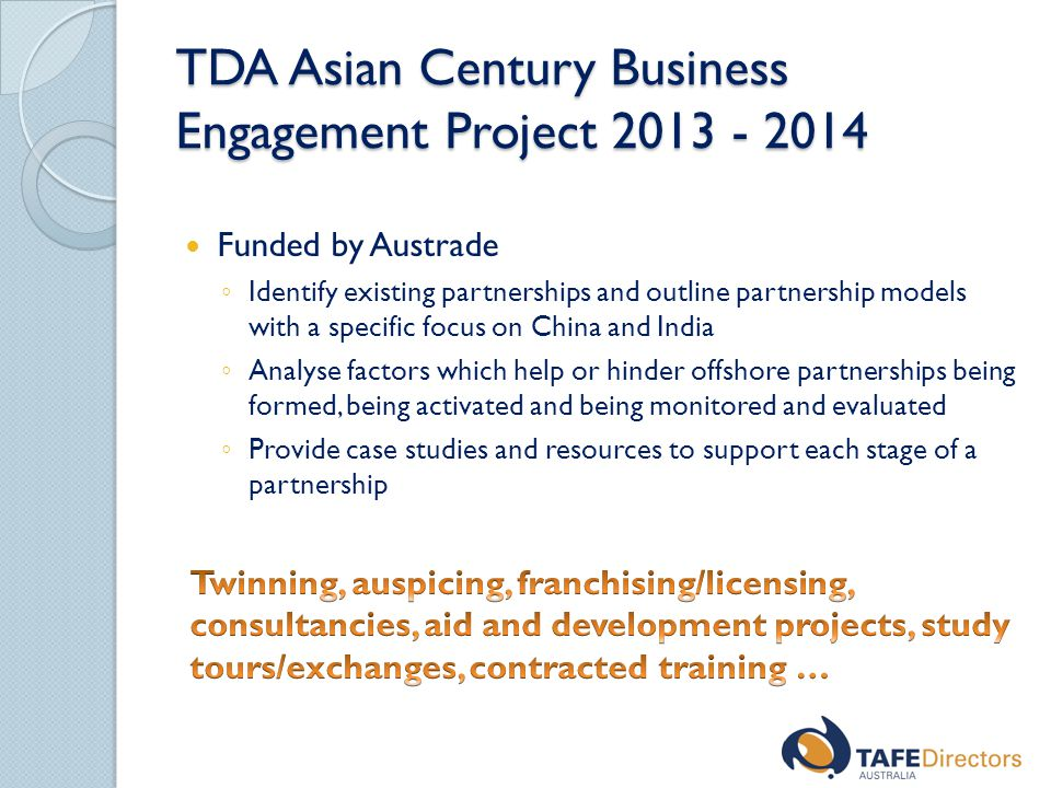 TDA Asian Century Business Engagement Project 2013 - 2014