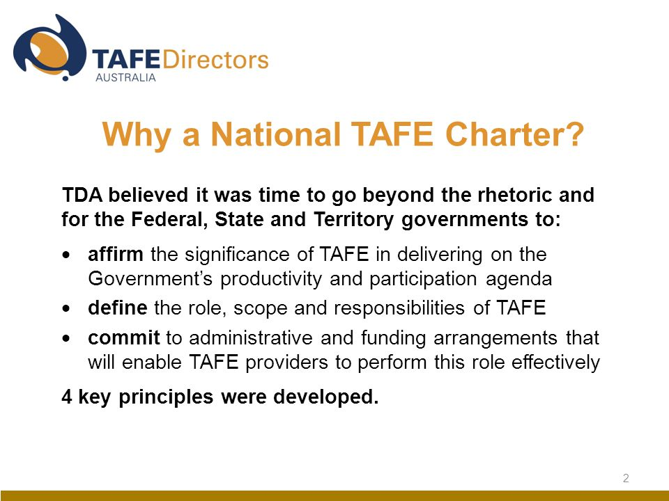 2 Why a National TAFE Charter.
