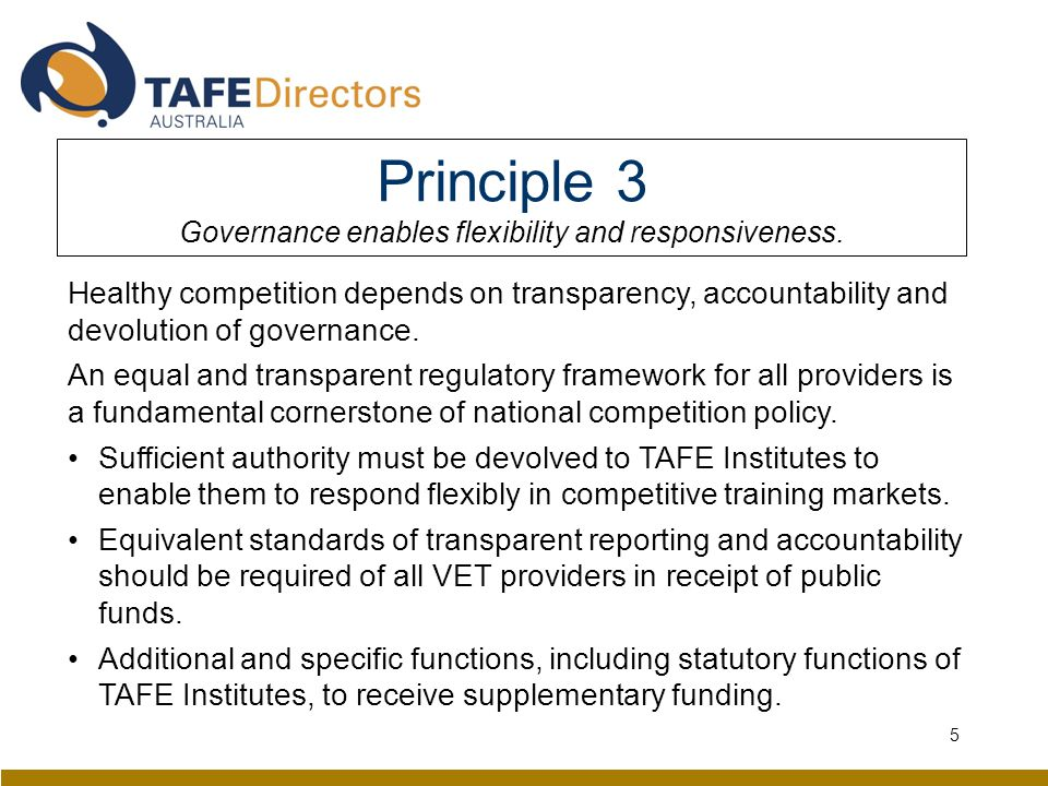 Principle 3 Governance enables flexibility and responsiveness.