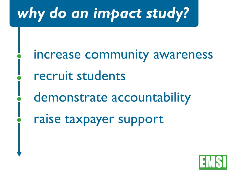increase community awareness recruit students demonstrate accountability raise taxpayer support why do an impact study