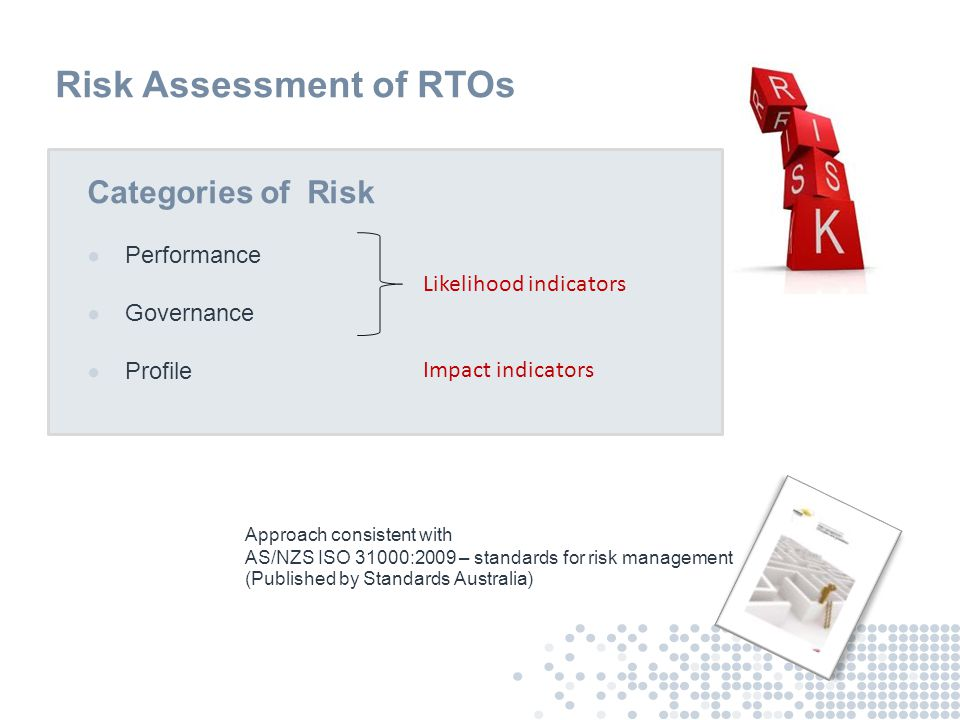 Risk Assessment of RTOs Categories of Risk ● Performance ● Governance ● Profile Impact indicators Approach consistent with AS/NZS ISO 31000:2009 – sta