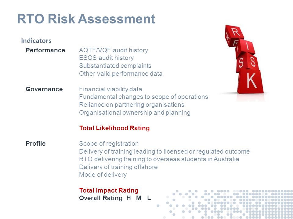 RTO Risk Assessment PerformanceAQTF/VQF audit history ESOS audit history Substantiated complaints Other valid performance data GovernanceFinancial via