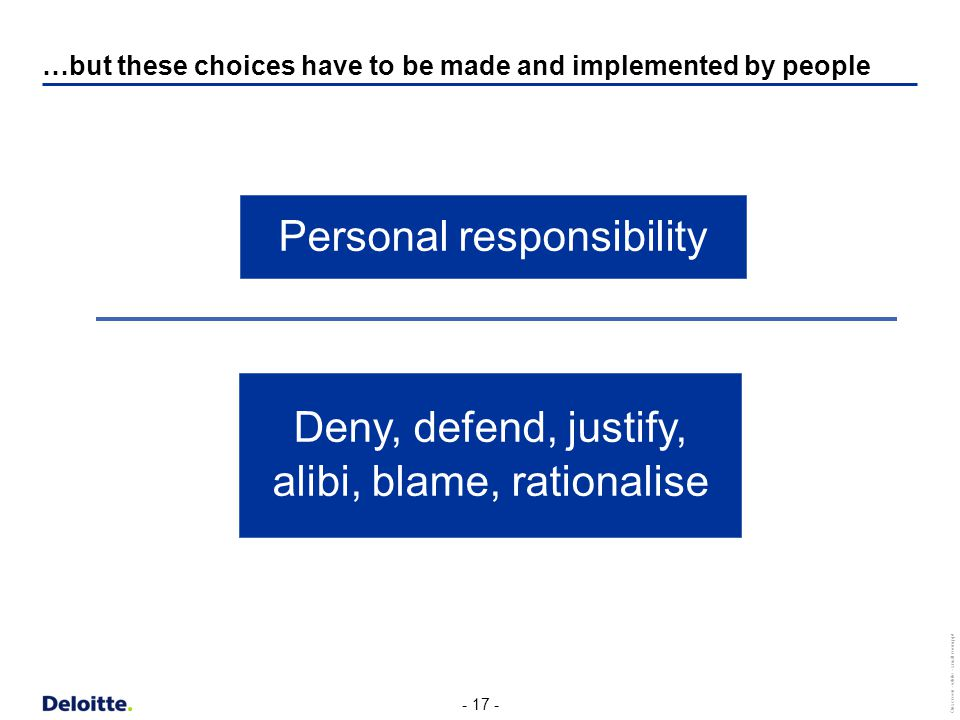 - 17 - Onscreen - white - small room.ppt …but these choices have to be made and implemented by people Personal responsibility Deny, defend, justify, alibi, blame, rationalise