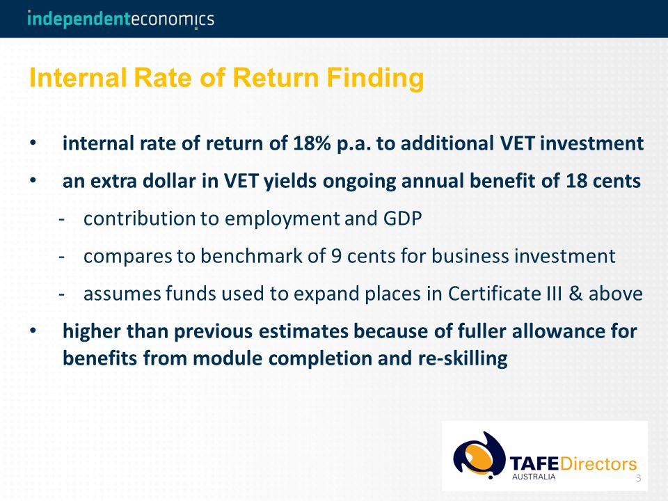 Internal Rate of Return Finding internal rate of return of 18% p.a.