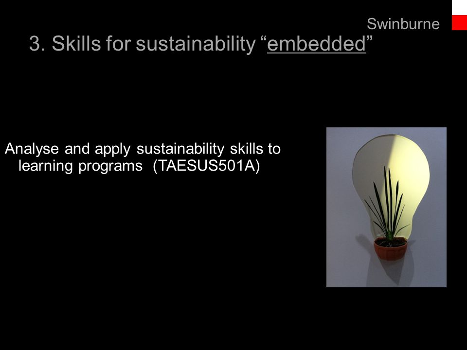 """Text line 3. Skills for sustainability """"embedded"""" Swinburne Analyse and apply sustainability skills to learning programs (TAESUS501A)"""