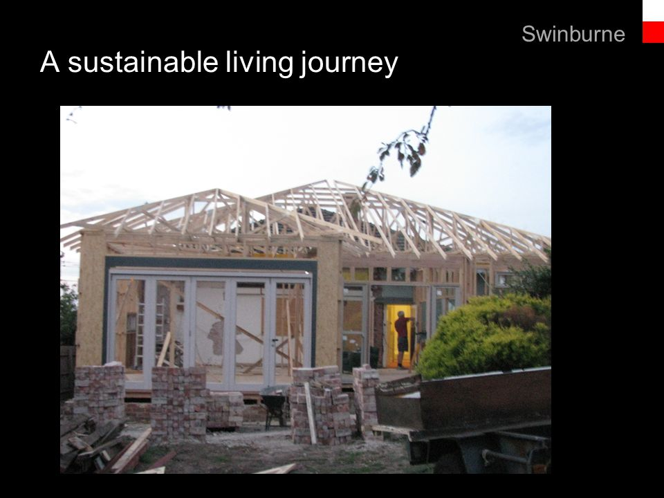 Text line A sustainable living journey Swinburne