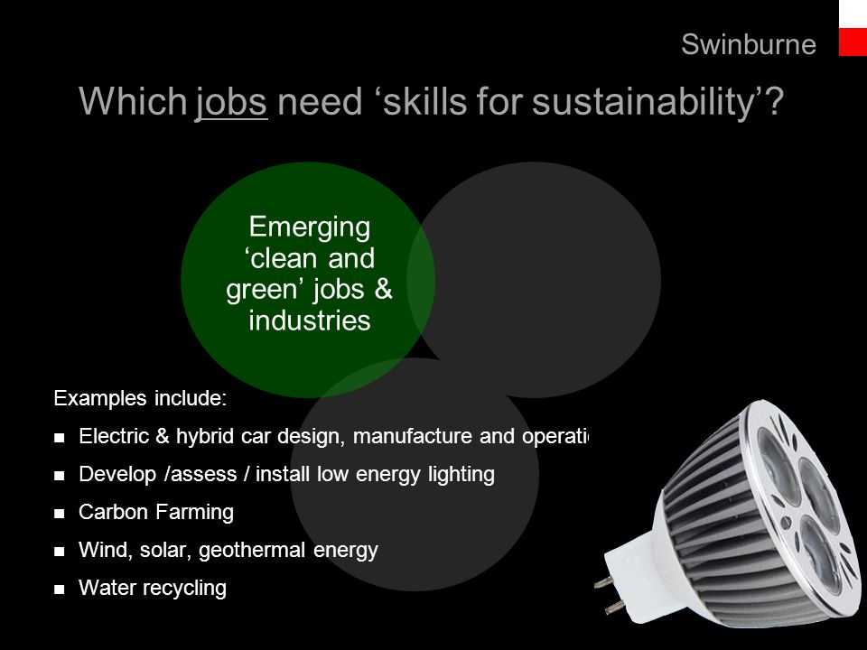 Text line Emerging 'clean and green' jobs & industries Swinburne Examples include: Electric & hybrid car design, manufacture and operation Develop /assess / install low energy lighting Carbon Farming Wind, solar, geothermal energy Water recycling Which jobs need 'skills for sustainability'