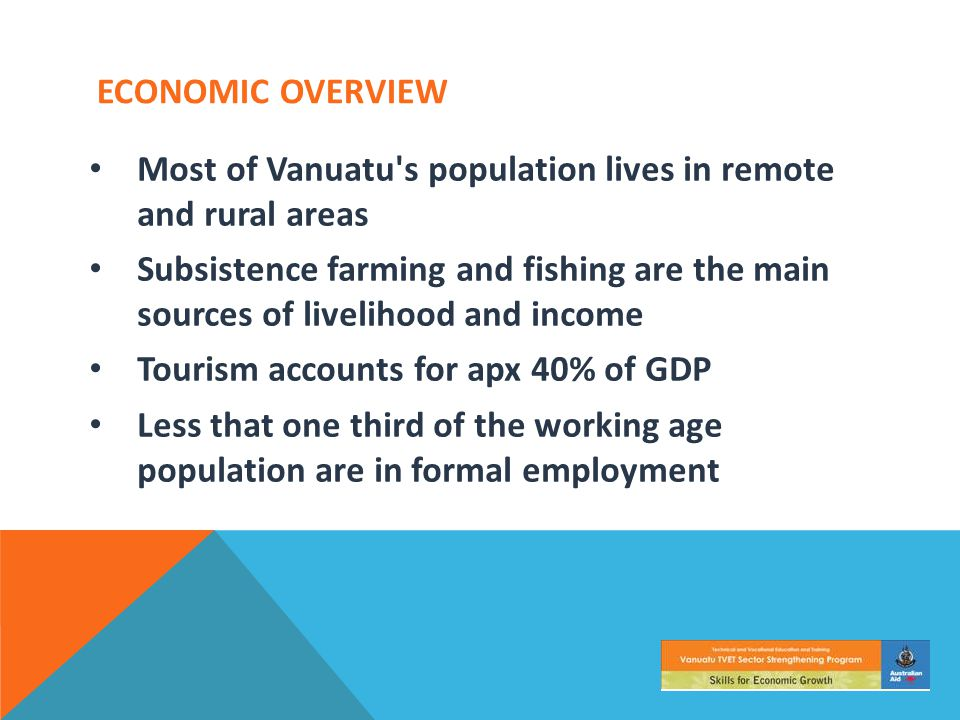 ECONOMIC OVERVIEW Most of Vanuatu's population lives in remote and rural areas Subsistence farming and fishing are the main sources of livelihood and