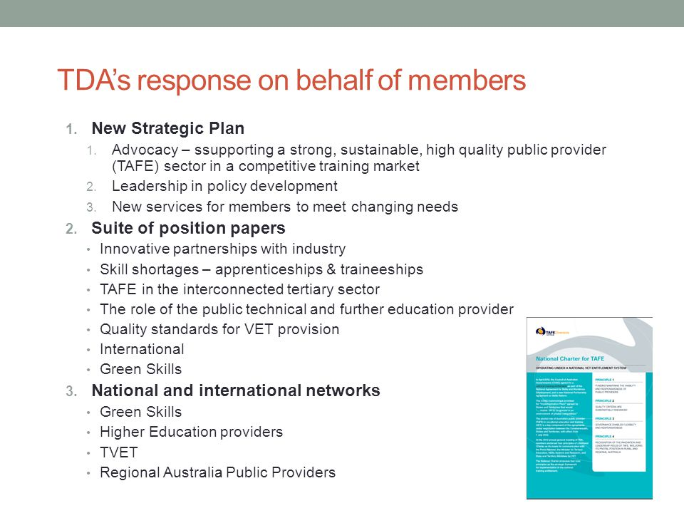 TDA's response on behalf of members 1. New Strategic Plan 1.