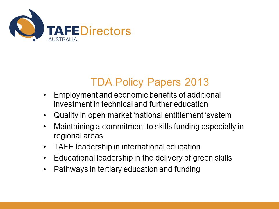 My presentation The role of TAFE Directors Australia TAFE- a big footprint The National Charter for TAFE The contestable market A review of VET funding Conclusion