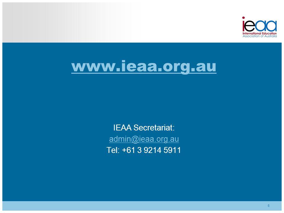 www.ieaa.org.au IEAA Secretariat: admin@ieaa.org.au Tel: +61 3 9214 5911 6