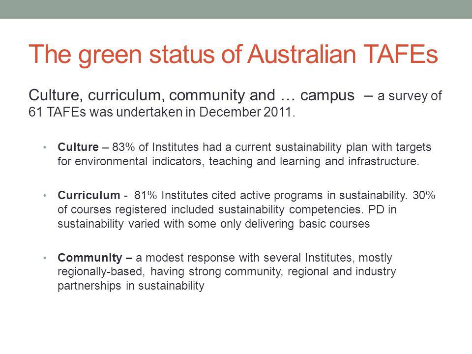 The green status of Australian TAFEs Culture, curriculum, community and … campus – a survey of 61 TAFEs was undertaken in December 2011.