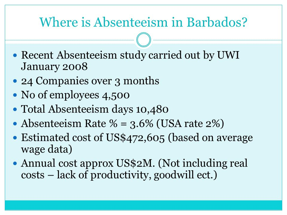 Where is Absenteeism in Barbados? Recent Absenteeism study carried out by UWI January 2008 24 Companies over 3 months No of employees 4,500 Total Abse