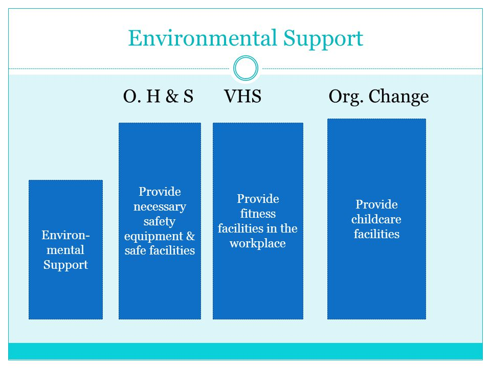 Environmental Support O. H & S VHS Org. Change Environ- mental Support Provide necessary safety equipment & safe facilities Provide fitness facilities