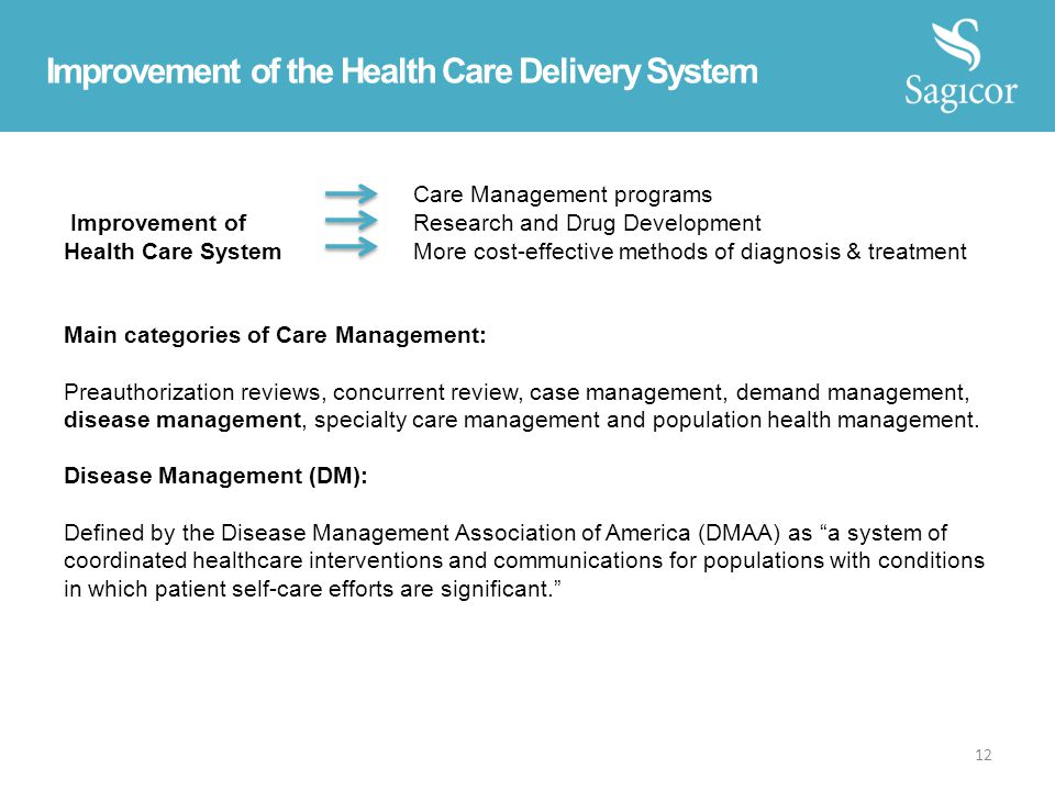 Improvement of the Health Care Delivery System Care Management programs Improvement of Research and Drug Development Health Care System More cost-effective methods of diagnosis & treatment Main categories of Care Management: Preauthorization reviews, concurrent review, case management, demand management, disease management, specialty care management and population health management.