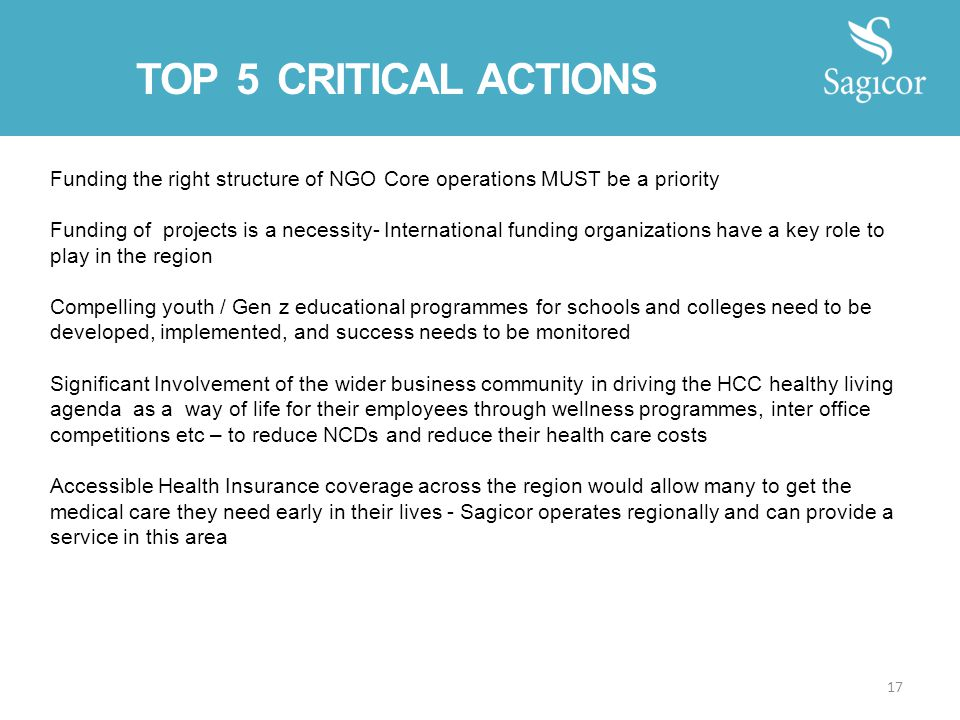 Funding the right structure of NGO Core operations MUST be a priority Funding of projects is a necessity- International funding organizations have a k