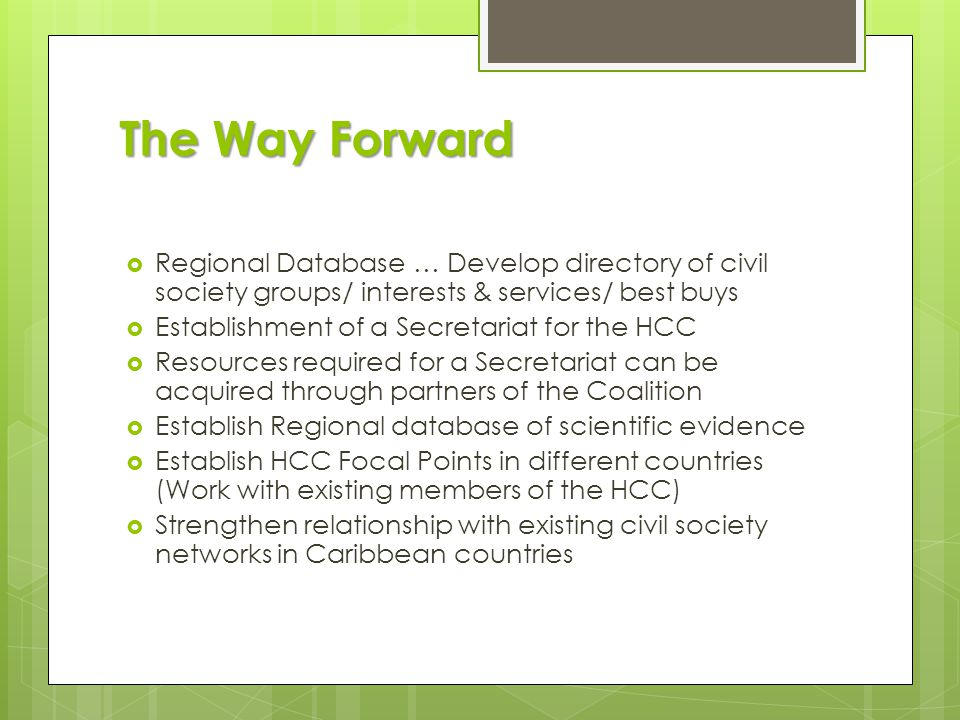 The Way Forward  Have access at the regional, political decision making level