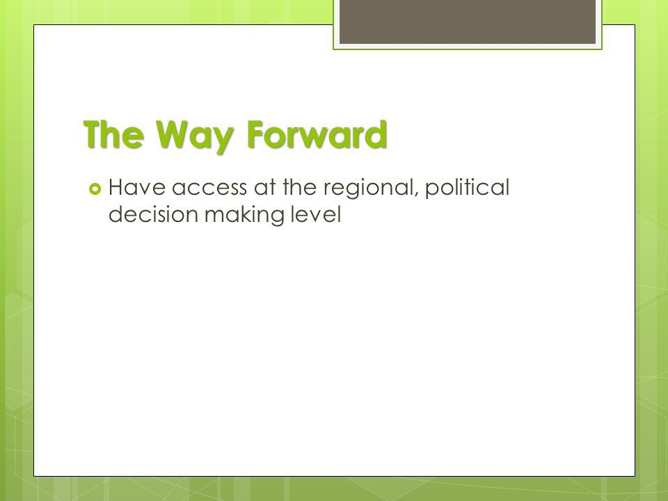 The Way Forward  Have access at the regional, political decision making level