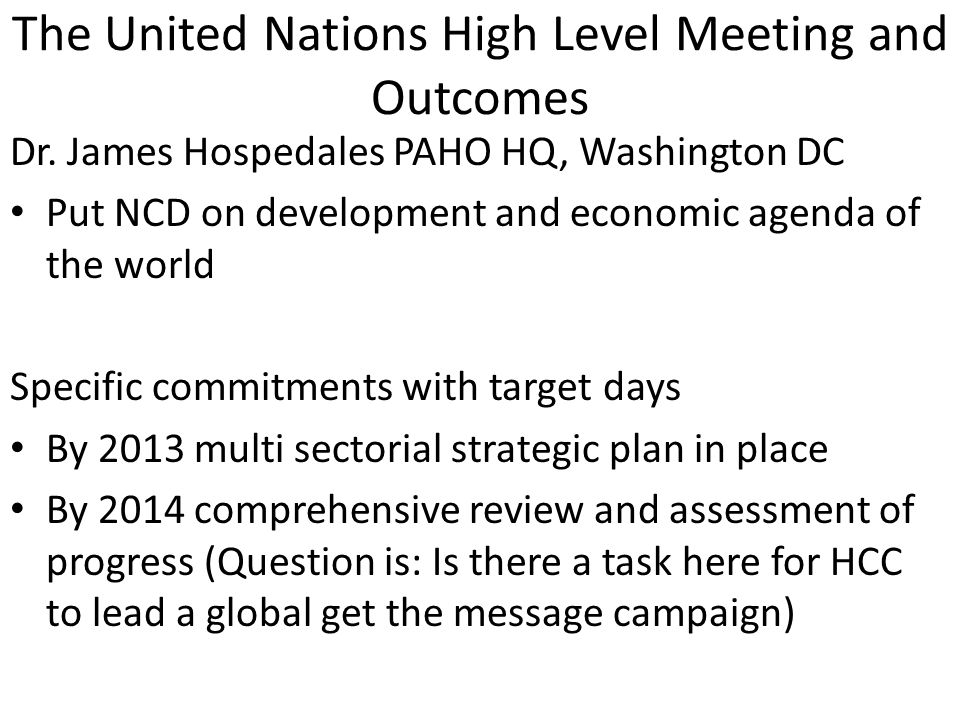 The United Nations High Level Meeting and Outcomes Dr.