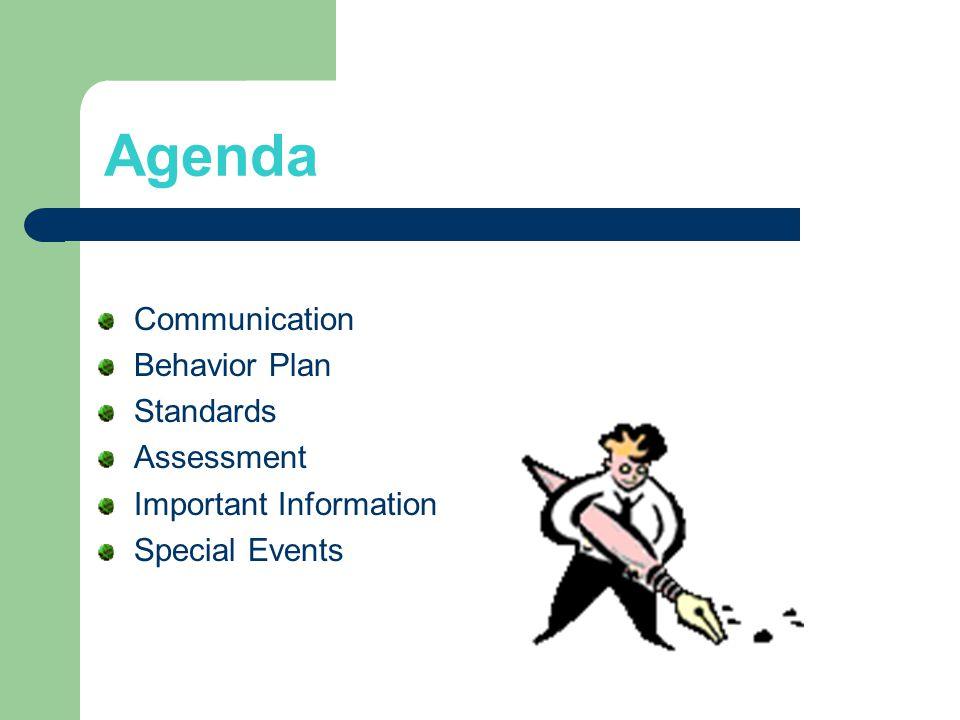 Agenda Communication Behavior Plan Standards Assessment Important Information Special Events