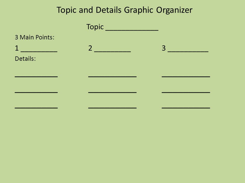 Topic and Details Graphic Organizer Topic _____________ 3 Main Points: 1 _________2 _________3 __________ Details: __________________________