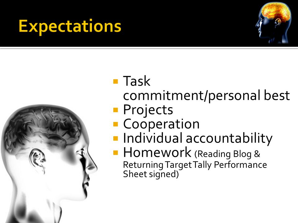 Task commitment/personal best  Projects  Cooperation  Individual accountability  Homework (Reading Blog & Returning Target Tally Performance Sheet signed)