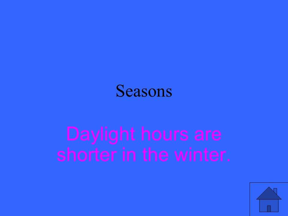 Seasons Is daylight time shorter in the summer or winter