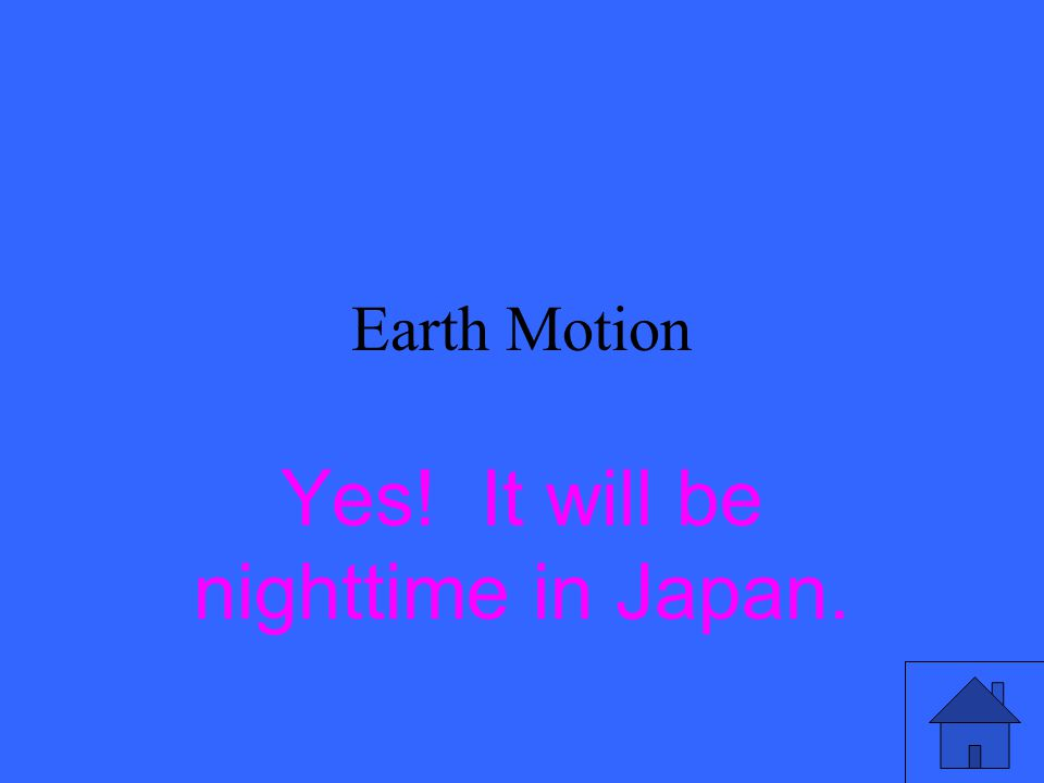 Earth Motion Yes! It will be nighttime in Japan.
