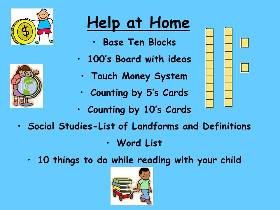 Help at Home Base Ten Blocks 100's Board with ideas Touch Money System Counting by 5's Cards Counting by 10's Cards Social Studies-List of Landforms a