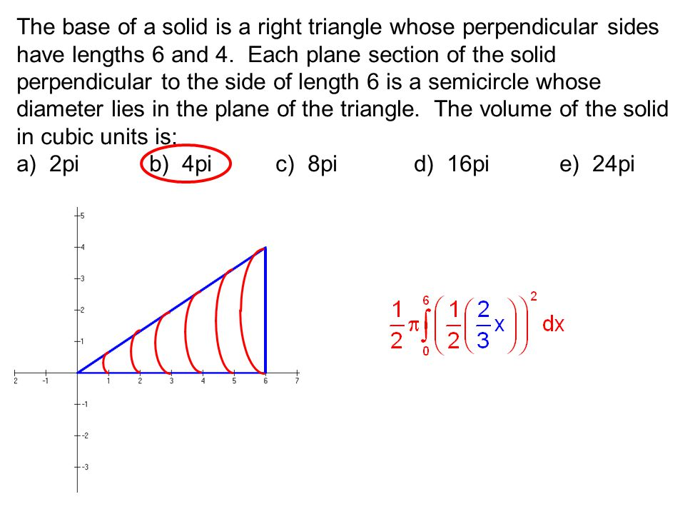 The base of a solid is a right triangle whose perpendicular sides have lengths 6 and 4. Each plane section of the solid perpendicular to the side of l