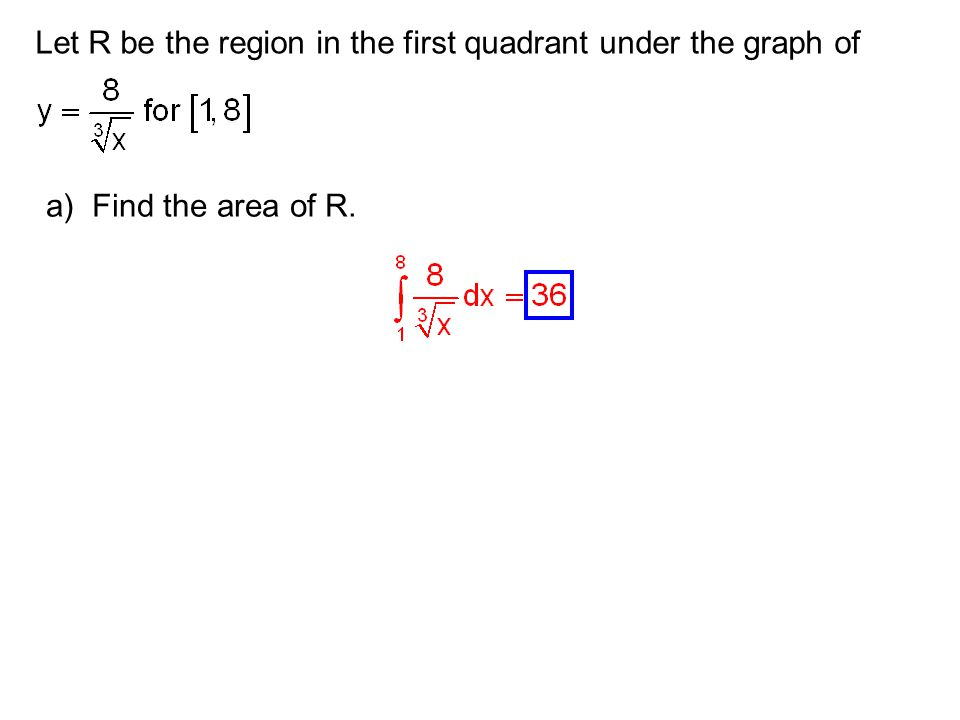 Let R be the region in the first quadrant under the graph of a) Find the area of R.
