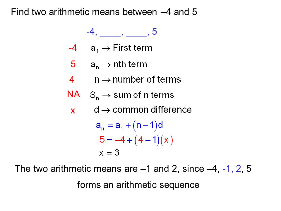 Find two arithmetic means between –4 and 5 -4, ____, ____, 5 -4 4 5 NA x The two arithmetic means are –1 and 2, since –4, -1, 2, 5 forms an arithmetic