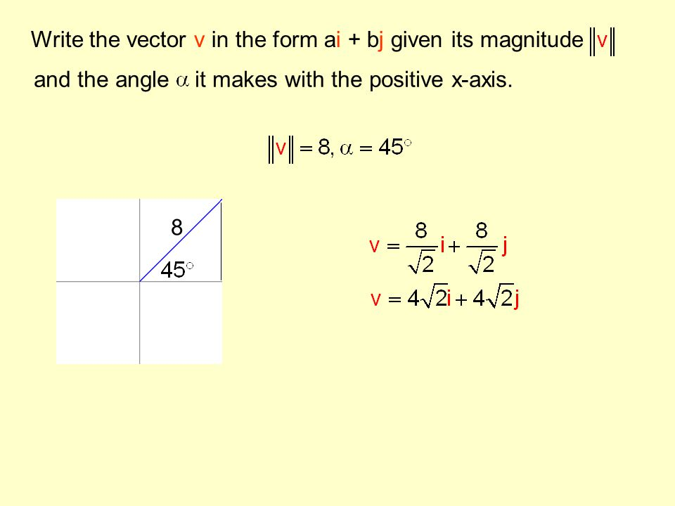 Write the vector v in the form ai + bj given its magnitude and the angle it makes with the positive x-axis. 8