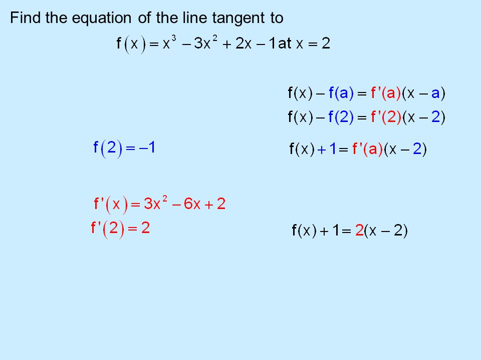 Find the equation of the line tangent to