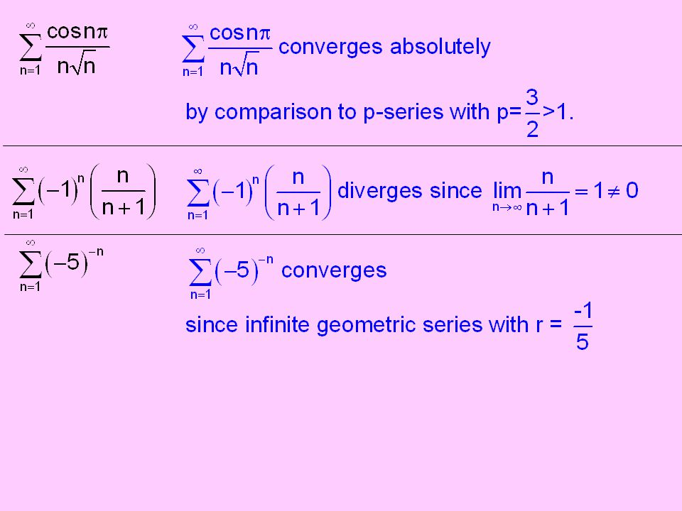 Alternating Series Test converges if both of the following conditions are satisfied: If a series converges but the series of absolute values diverges, We say the series converges conditionally.