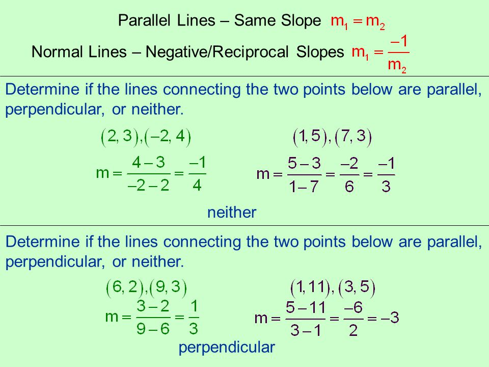Parallel Lines – Same Slope Normal Lines – Negative/Reciprocal Slopes Determine if the lines connecting the two points below are parallel, perpendicul