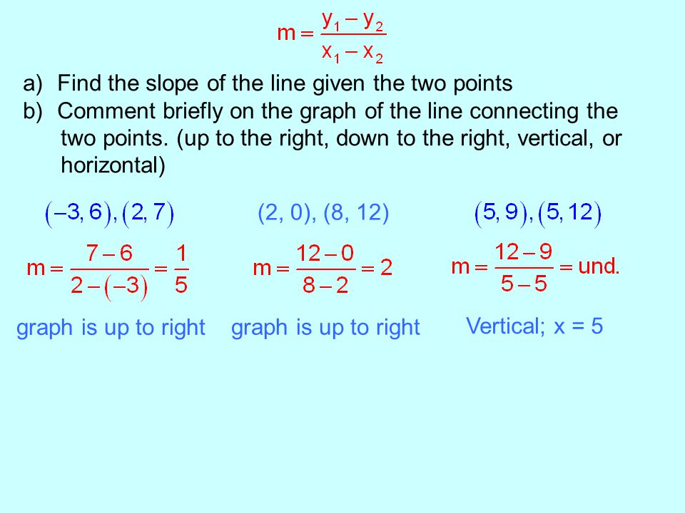 a)Find the slope of the line given the two points b)Comment briefly on the graph of the line connecting the two points.