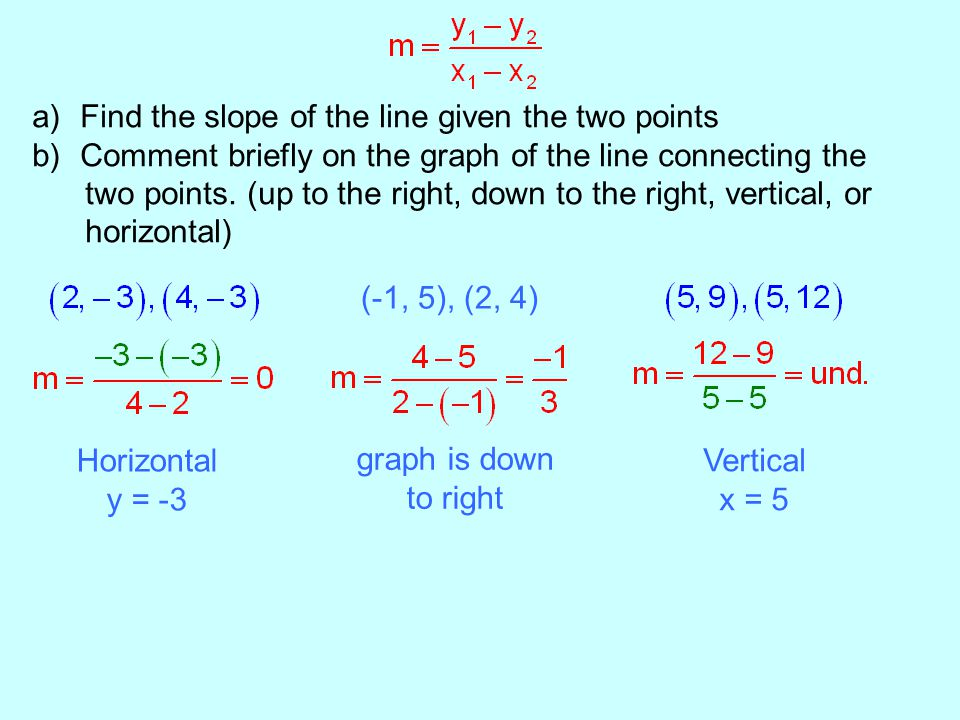 a)Find the slope of the line given the two points b)Comment briefly on the graph of the line connecting the two points. (up to the right, down to the