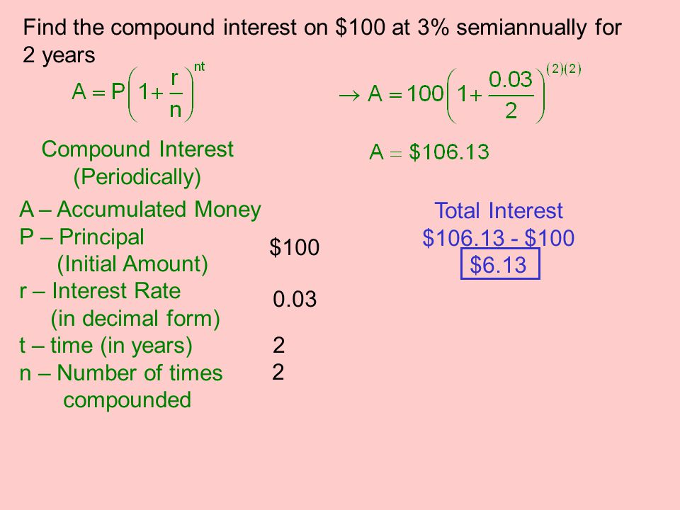 Find the compound interest on $100 at 3% semiannually for 2 years Compound Interest (Periodically) A – Accumulated Money P – Principal (Initial Amount) r – Interest Rate (in decimal form) t – time (in years) n – Number of times compounded $100 0.03 2 2 Total Interest $106.13 - $100 $6.13